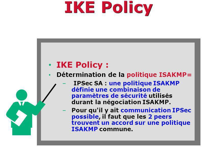 IKE Policy IKE Policy : Détermination de la politique ISAKMP=