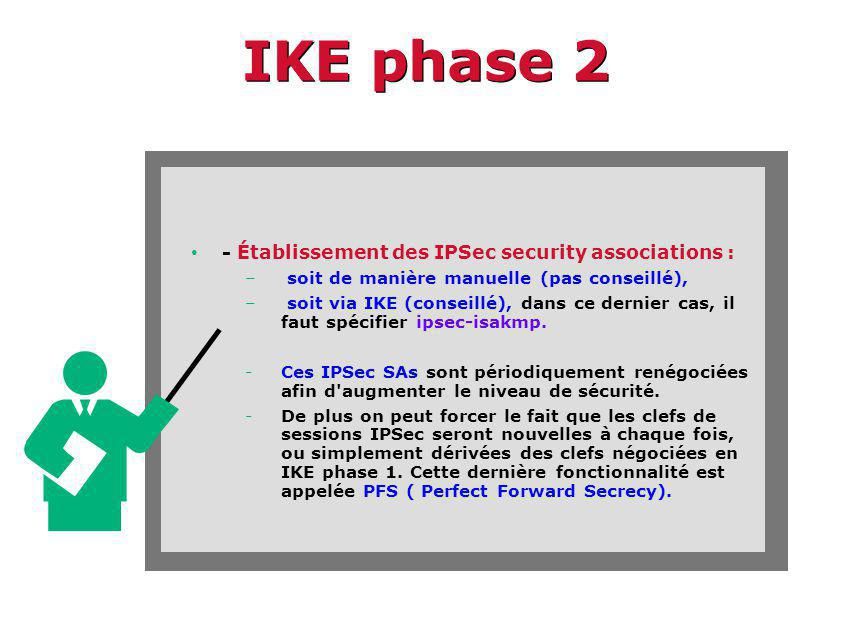 IKE phase 2 - Établissement des IPSec security associations :