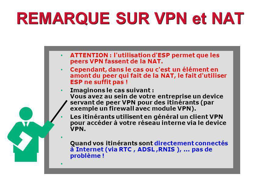 REMARQUE SUR VPN et NAT ATTENTION : l utilisation d ESP permet que les peers VPN fassent de la NAT.