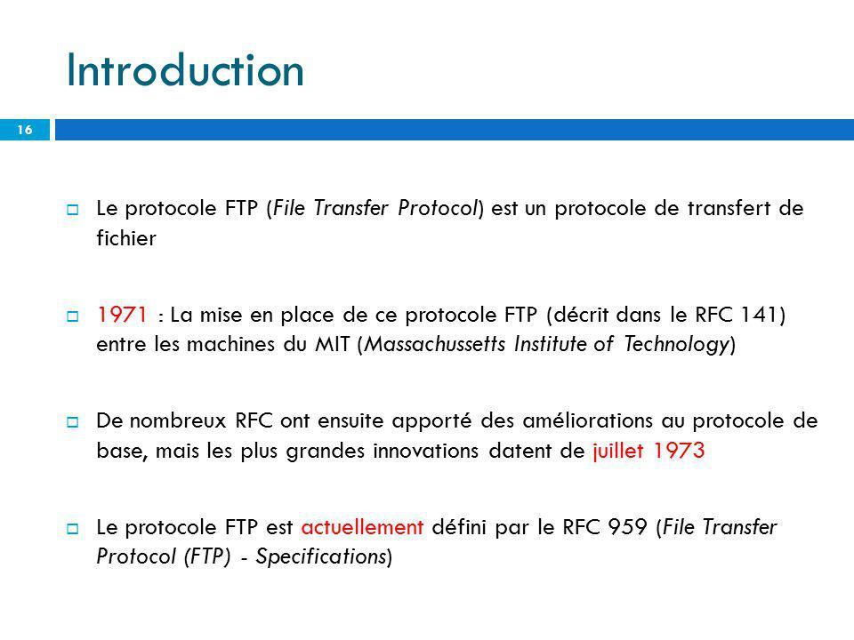 Introduction Le protocole FTP (File Transfer Protocol) est un protocole de transfert de fichier.