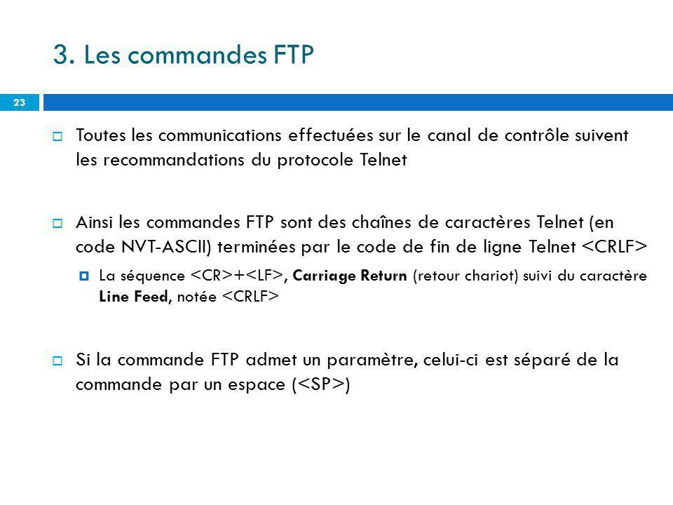 3. Les commandes FTP Toutes les communications effectuées sur le canal de contrôle suivent les recommandations du protocole Telnet.