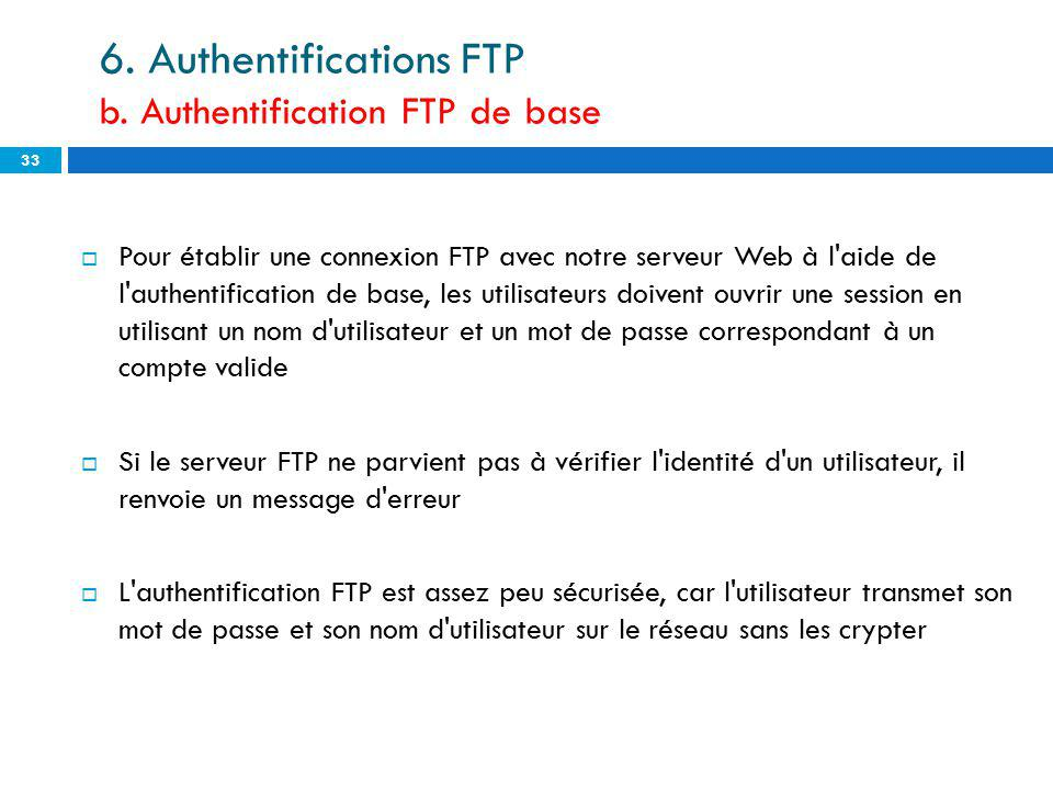 6. Authentifications FTP b. Authentification FTP de base
