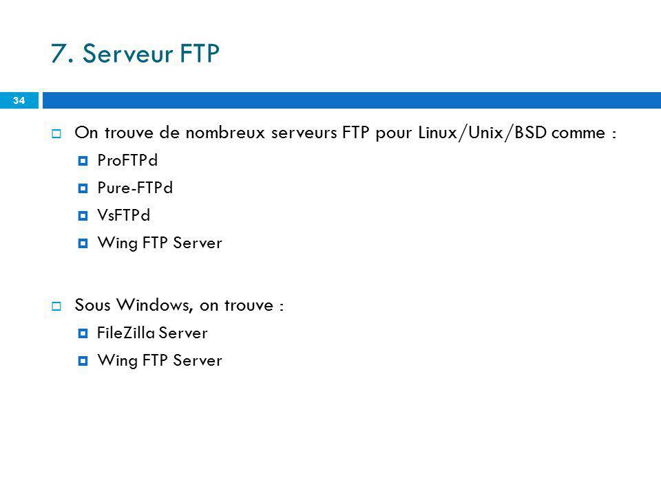 7. Serveur FTP On trouve de nombreux serveurs FTP pour Linux/Unix/BSD comme : ProFTPd. Pure-FTPd.