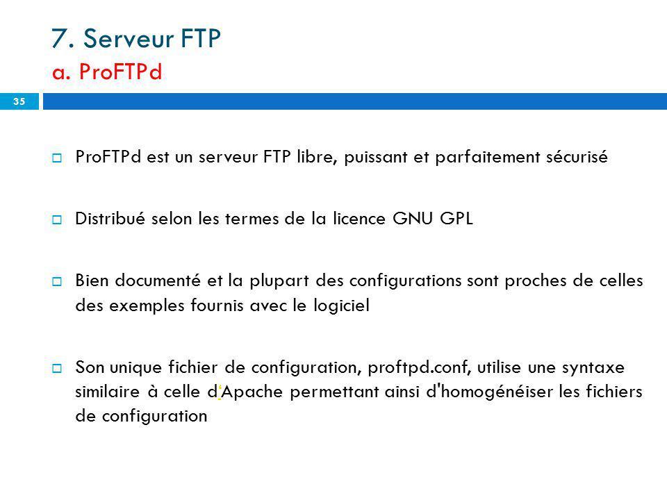7. Serveur FTP a. ProFTPd ProFTPd est un serveur FTP libre, puissant et parfaitement sécurisé. Distribué selon les termes de la licence GNU GPL.