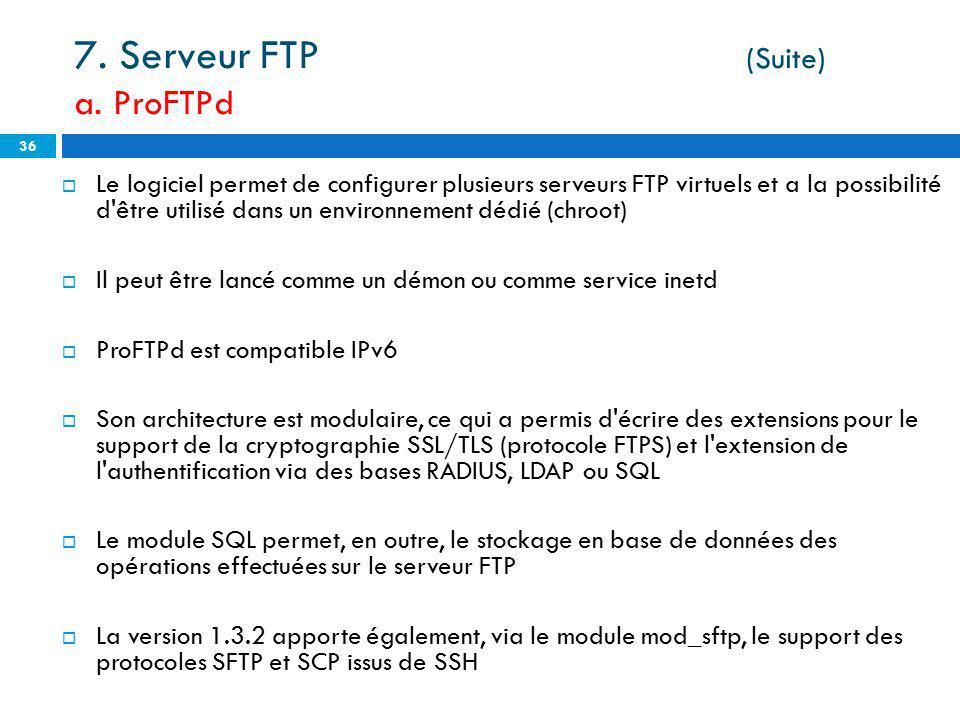 7. Serveur FTP (Suite) a. ProFTPd
