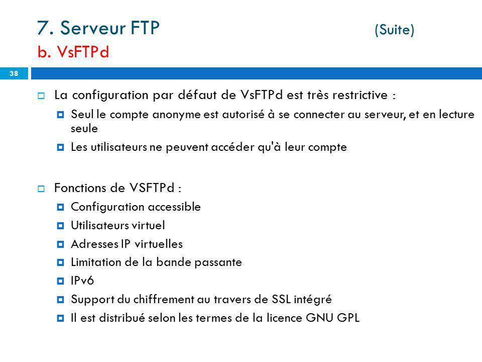7. Serveur FTP (Suite) b. VsFTPd
