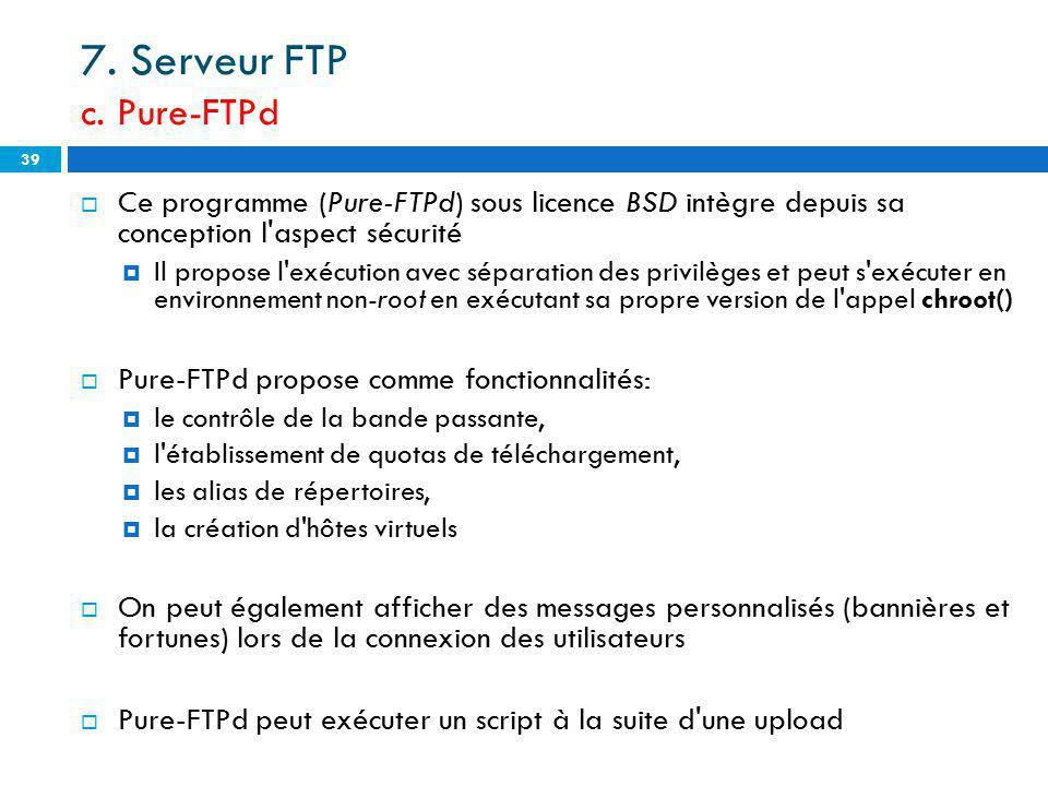 7. Serveur FTP c. Pure-FTPd
