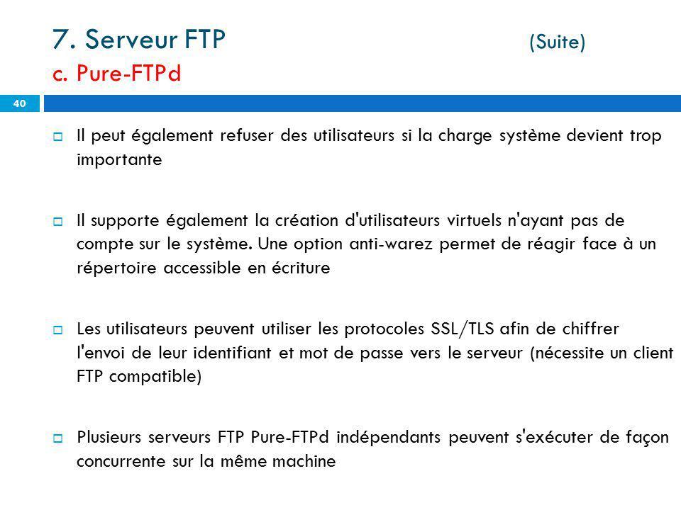 7. Serveur FTP (Suite) c. Pure-FTPd