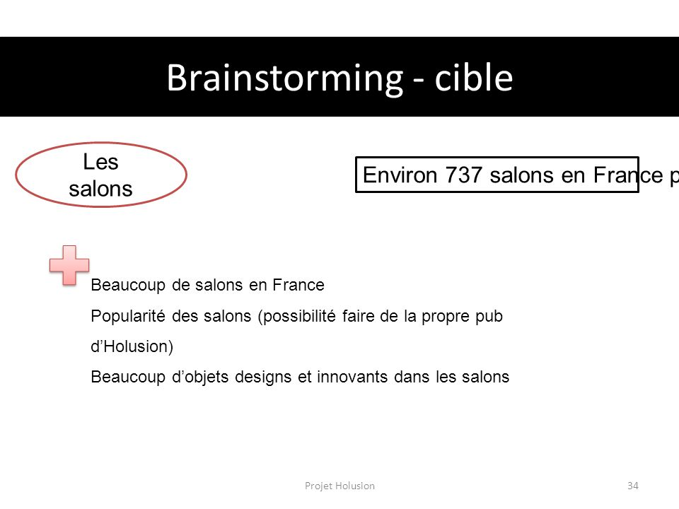 Brainstorming - cible Les salons Environ 737 salons en France par an