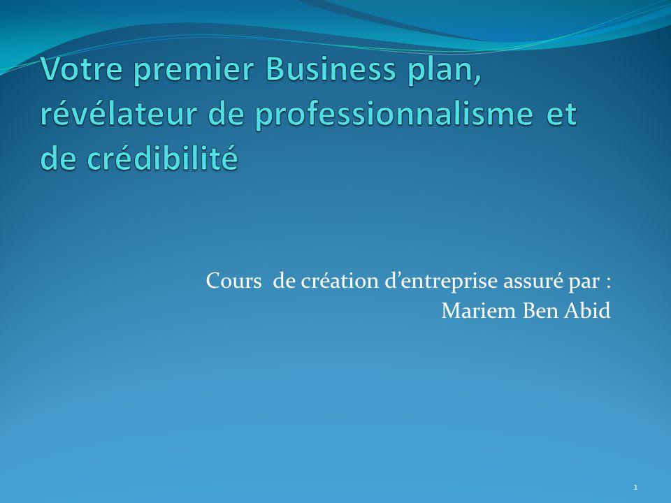 Cours de création d'entreprise assuré par : Mariem Ben Abid