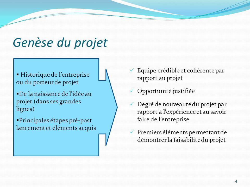 Genèse du projet Equipe crédible et cohérente par rapport au projet