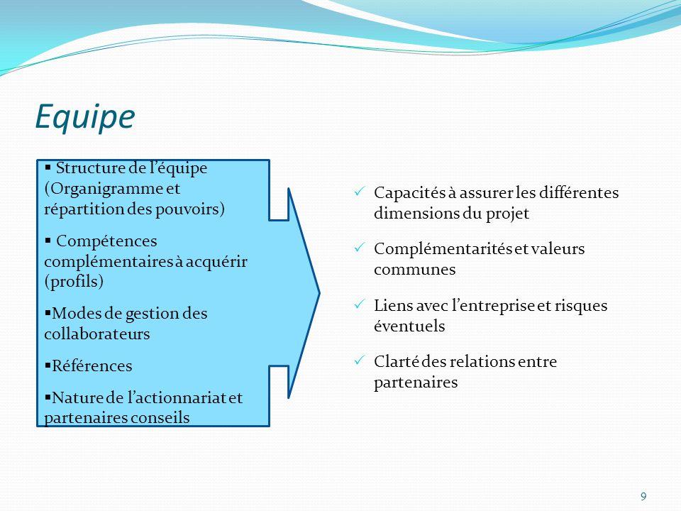 Equipe Capacités à assurer les différentes dimensions du projet. Complémentarités et valeurs communes.