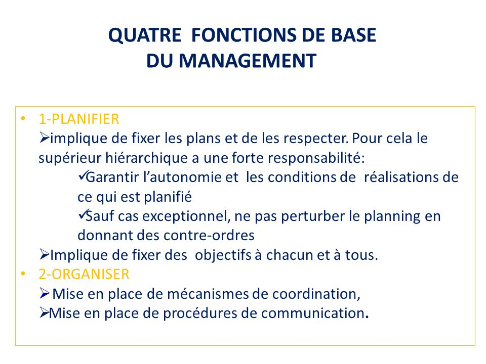 QUATRE FONCTIONS DE BASE DU MANAGEMENT