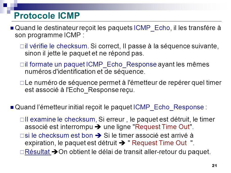 Protocole ICMP Quand le destinateur reçoit les paquets ICMP_Echo, il les transfére à son programme ICMP :