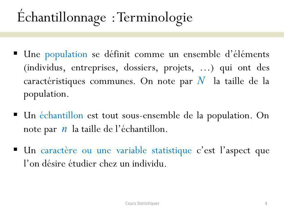 Échantillonnage : Terminologie