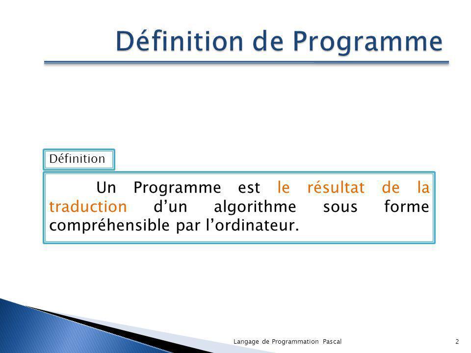 Définition de Programme