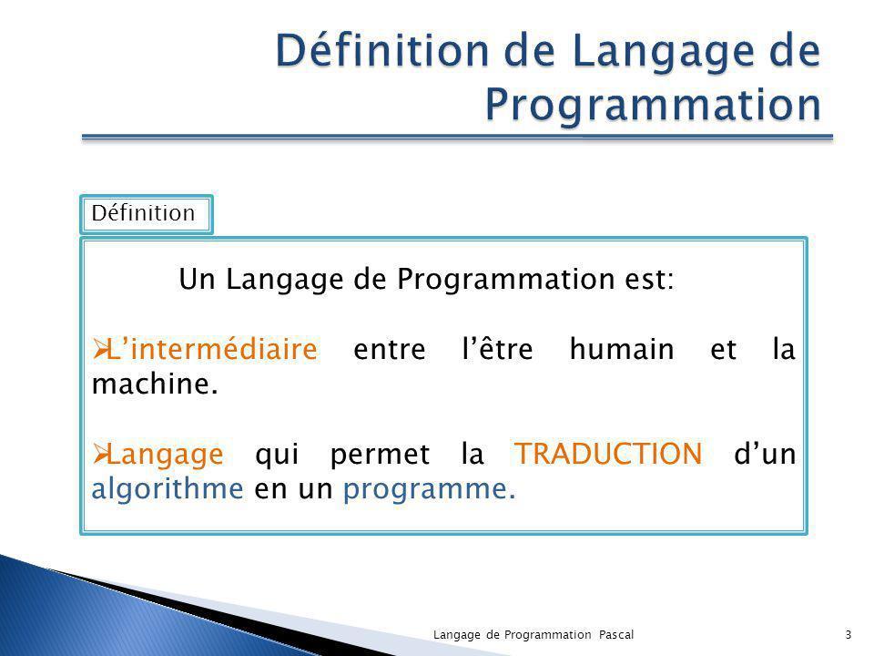 Définition de Langage de Programmation