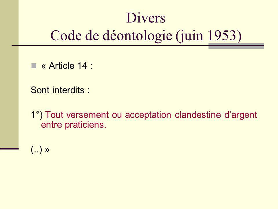 Divers Code de déontologie (juin 1953)