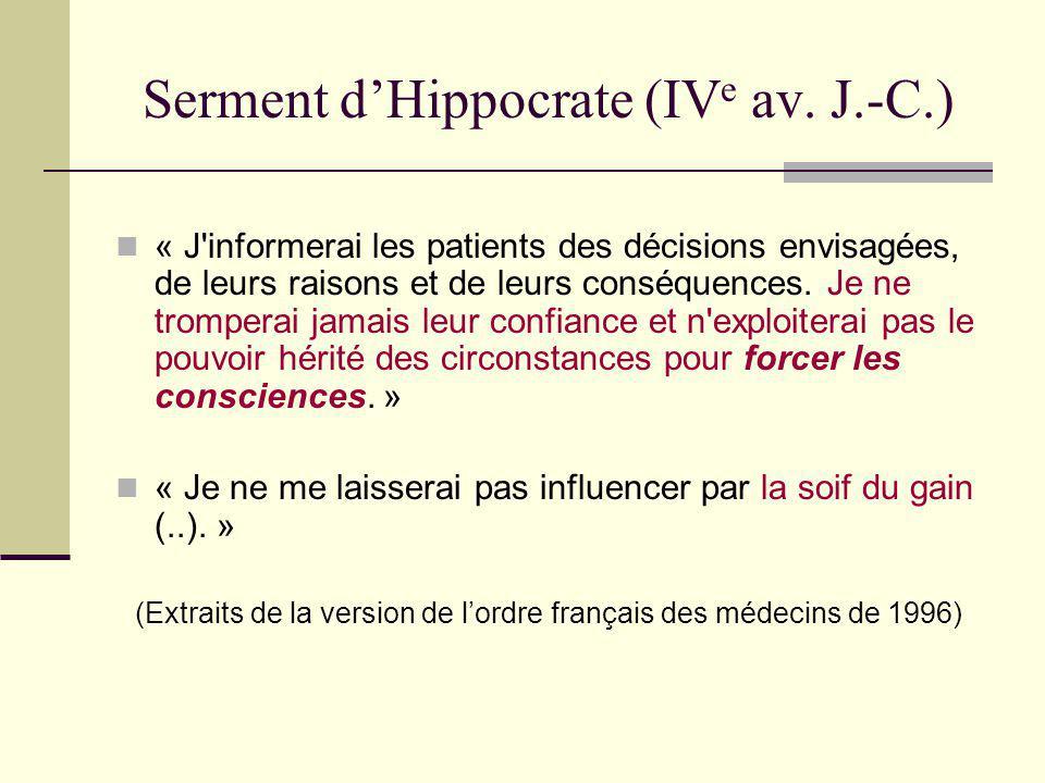 Serment d'Hippocrate (IVe av. J.-C.)