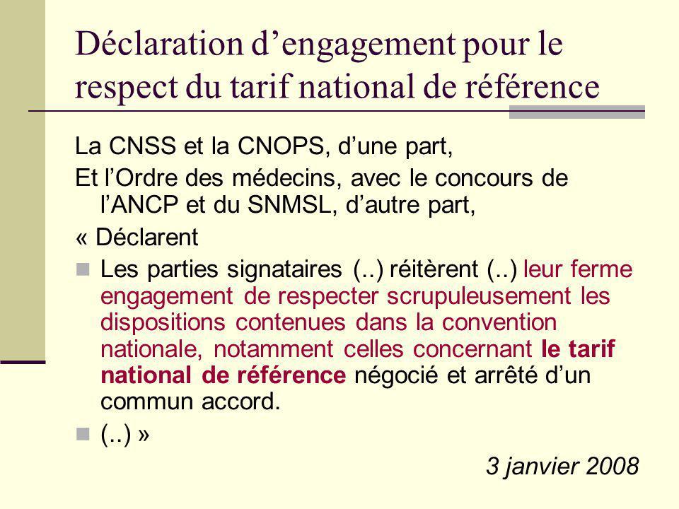 Déclaration d'engagement pour le respect du tarif national de référence