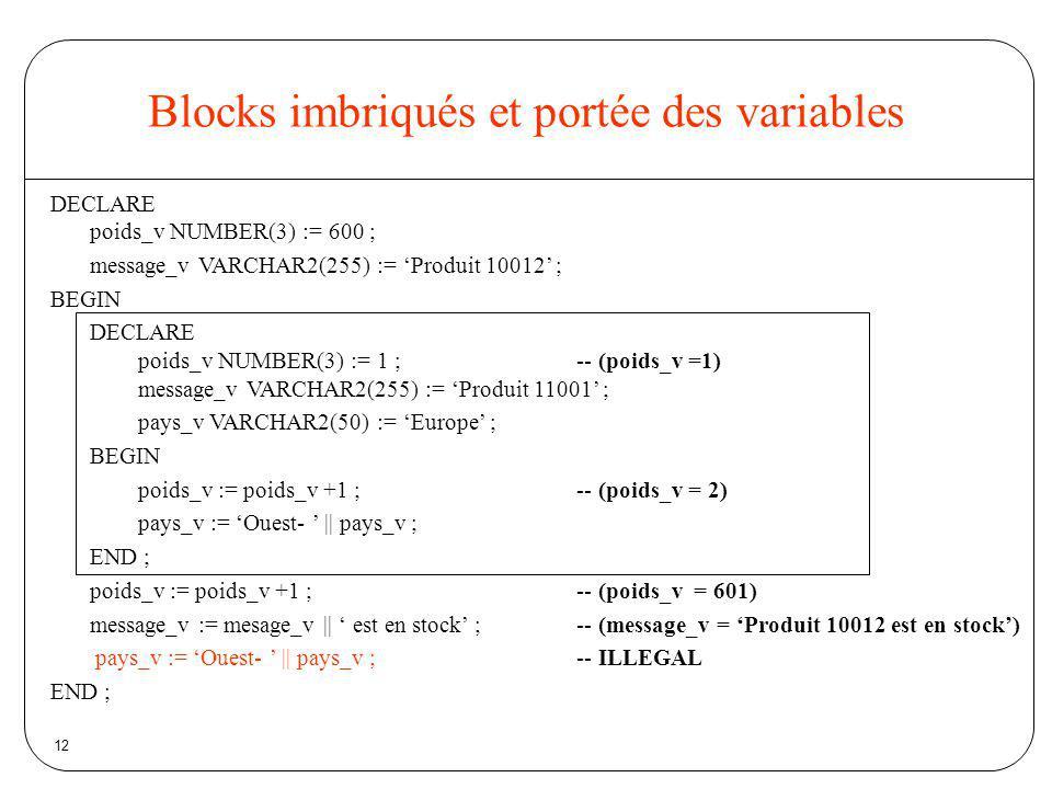 Blocks imbriqués et portée des variables