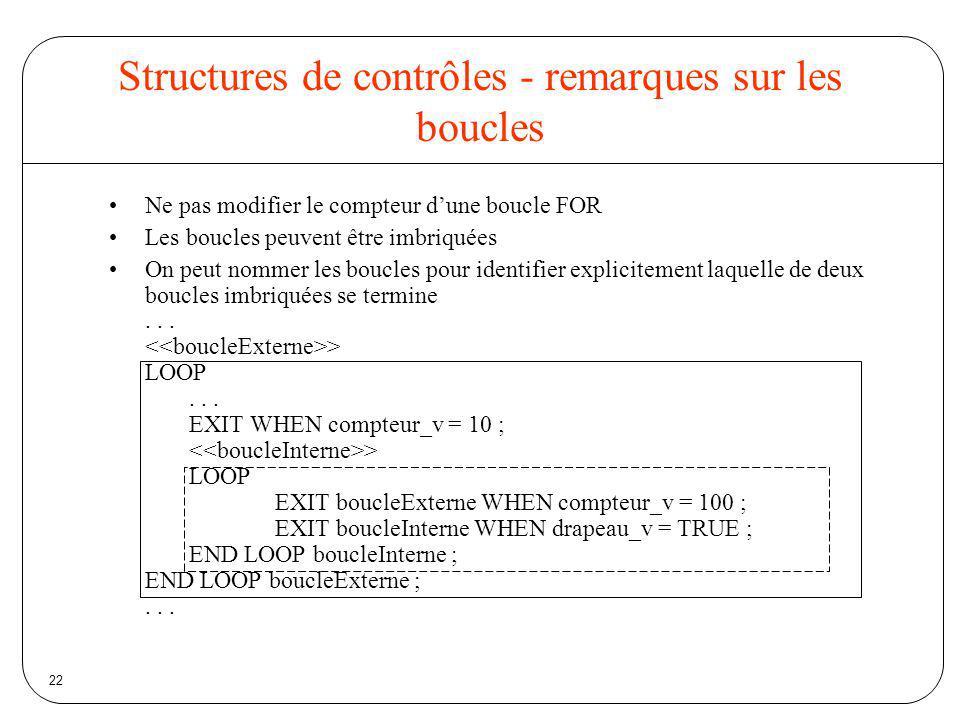 Structures de contrôles - remarques sur les boucles