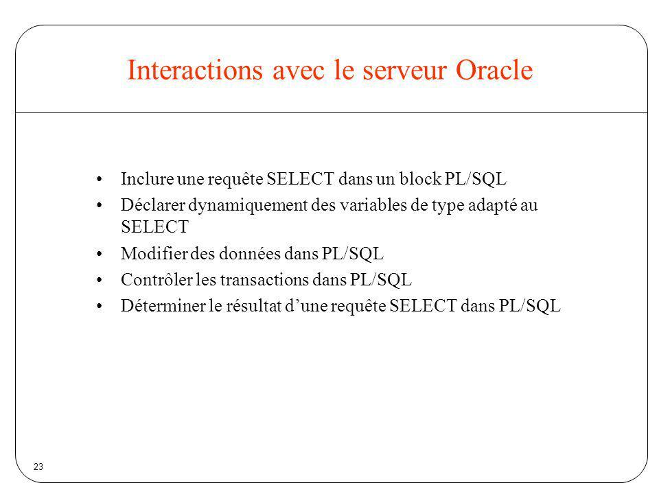 Interactions avec le serveur Oracle