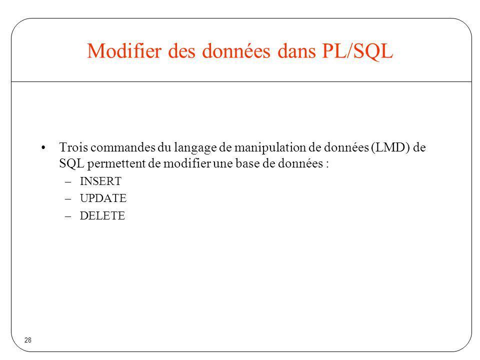Modifier des données dans PL/SQL
