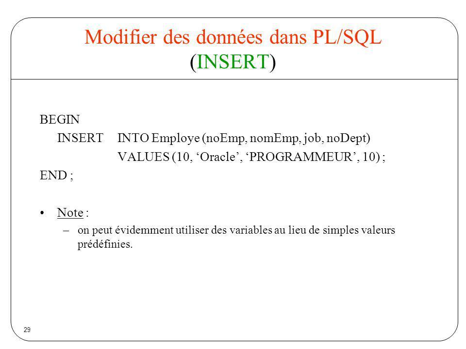 Modifier des données dans PL/SQL (INSERT)