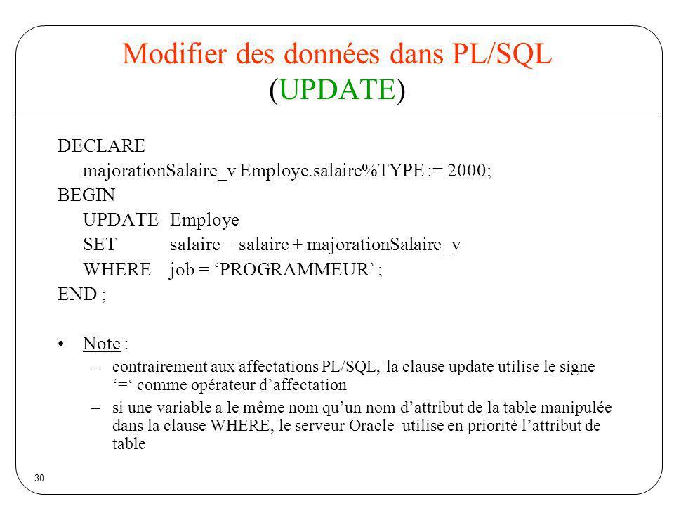 Modifier des données dans PL/SQL (UPDATE)