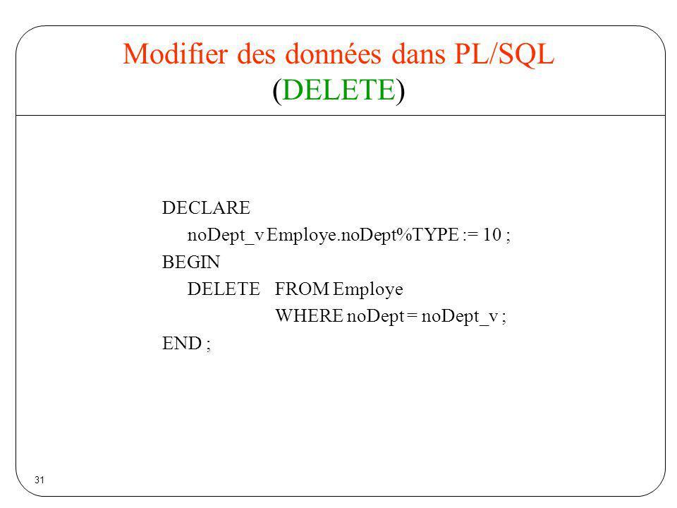 Modifier des données dans PL/SQL (DELETE)