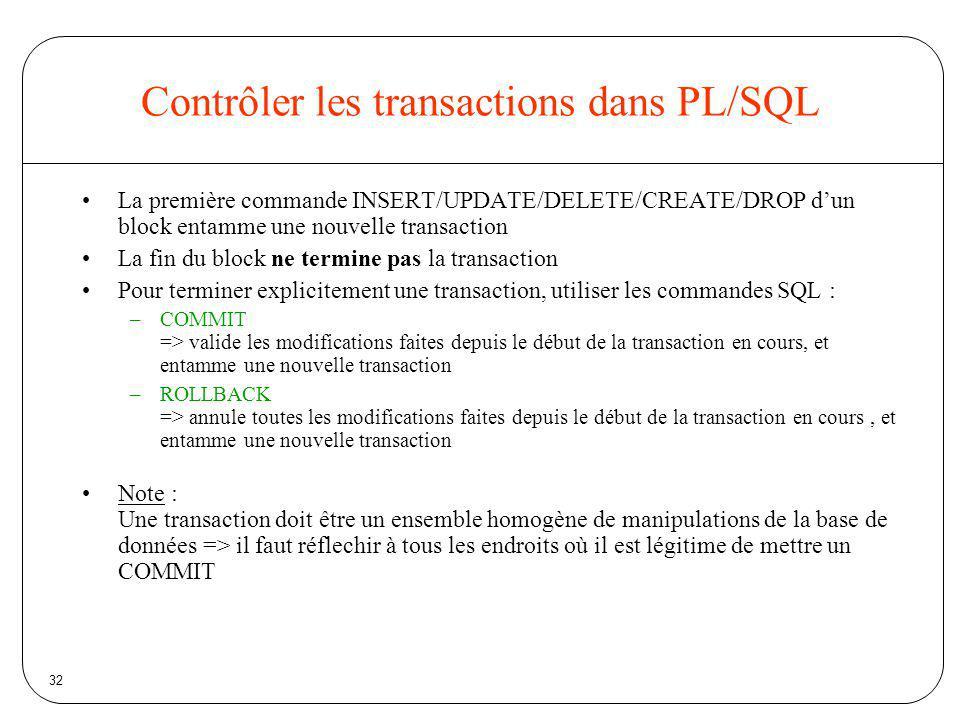 Contrôler les transactions dans PL/SQL