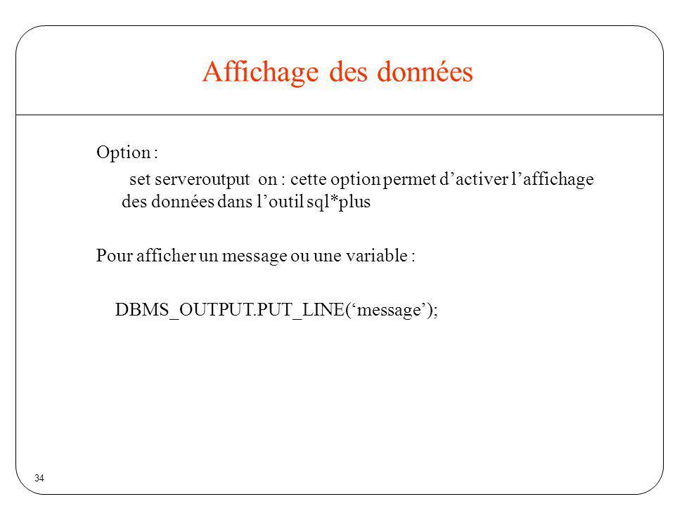 Affichage des données Option :