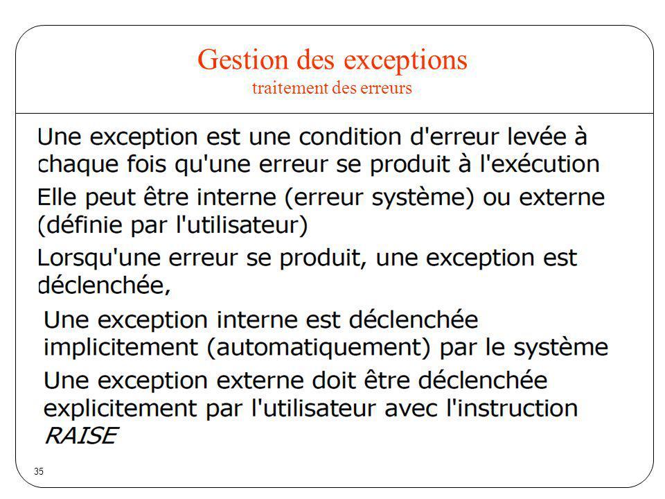 Gestion des exceptions traitement des erreurs