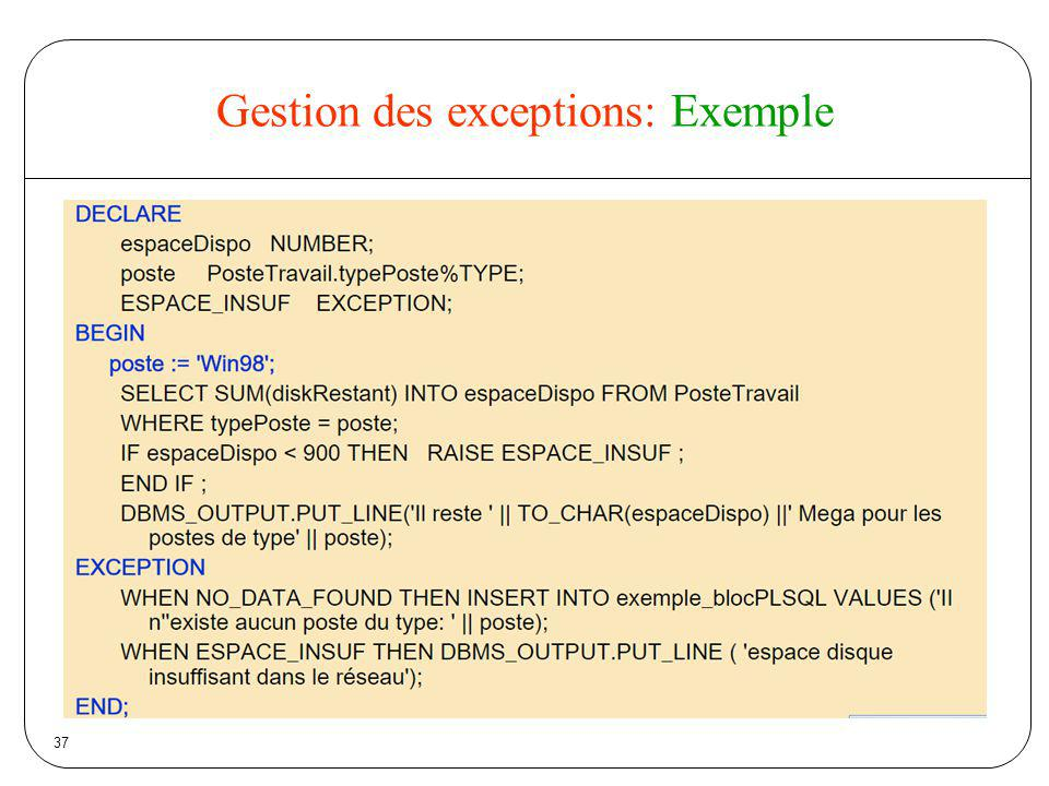 Gestion des exceptions: Exemple