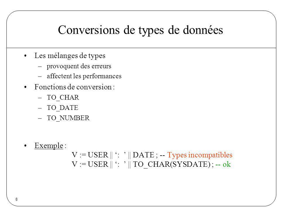 Conversions de types de données