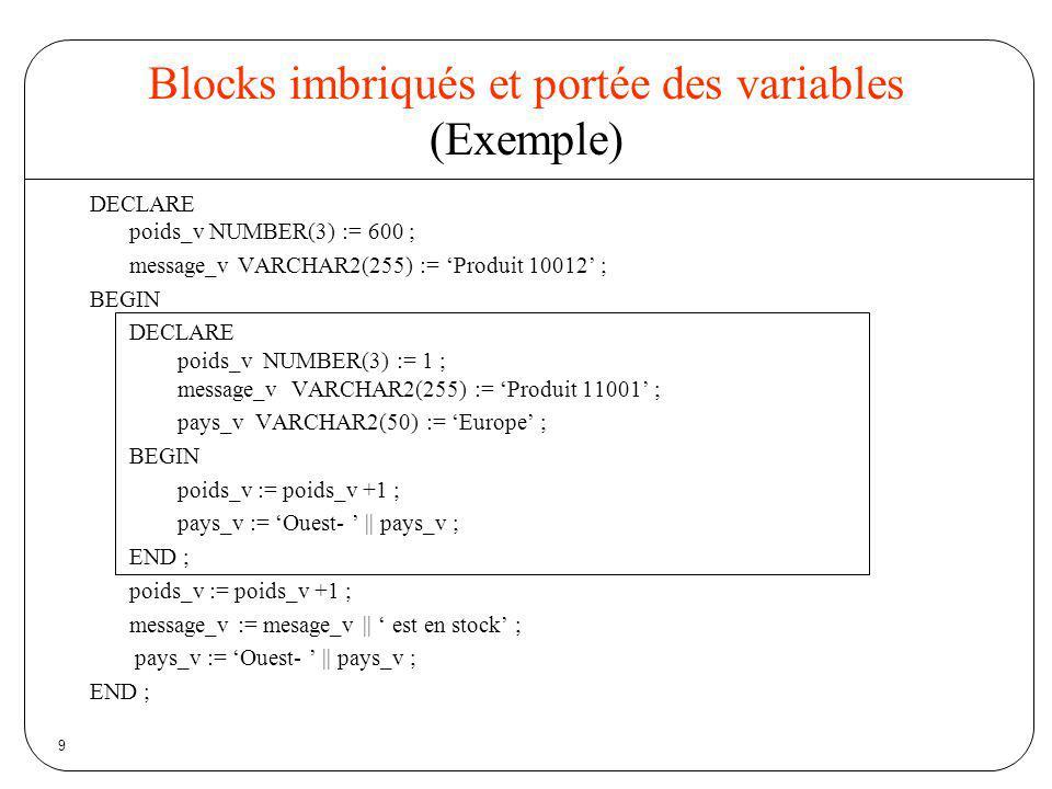 Blocks imbriqués et portée des variables (Exemple)