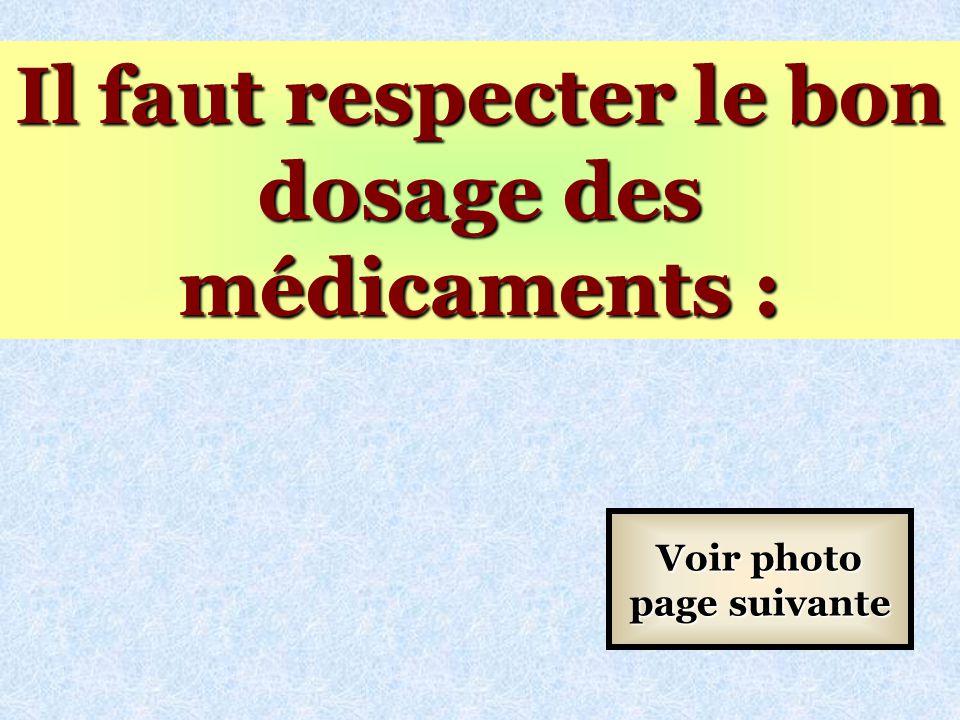 Il faut respecter le bon dosage des médicaments :