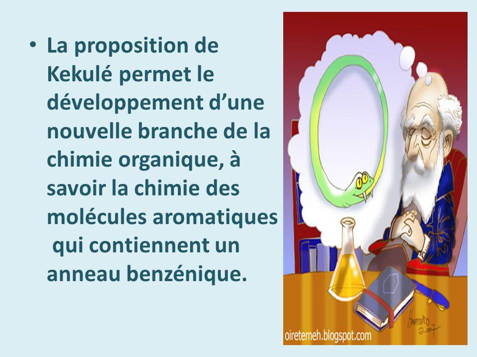 La proposition de Kekulé permet le développement d'une nouvelle branche de la chimie organique, à savoir la chimie des molécules aromatiques qui contiennent un anneau benzénique.