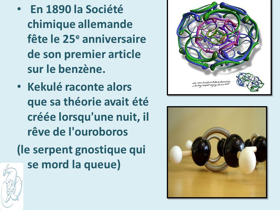 En 1890 la Société chimique allemande fête le 25e anniversaire de son premier article sur le benzène.