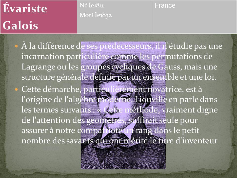 Évariste Galois. Né le1811. Mort le1832. France.