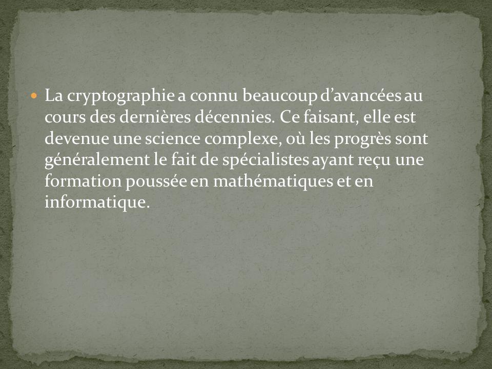 La cryptographie a connu beaucoup d'avancées au cours des dernières décennies.