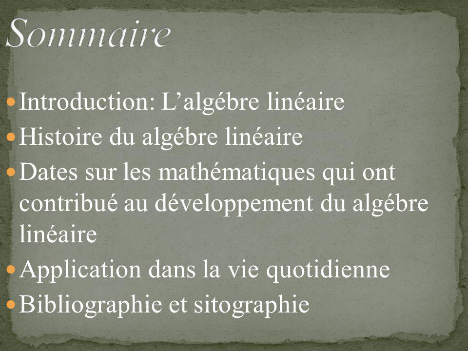 Sommaire Introduction: L'algébre linéaire Histoire du algébre linéaire