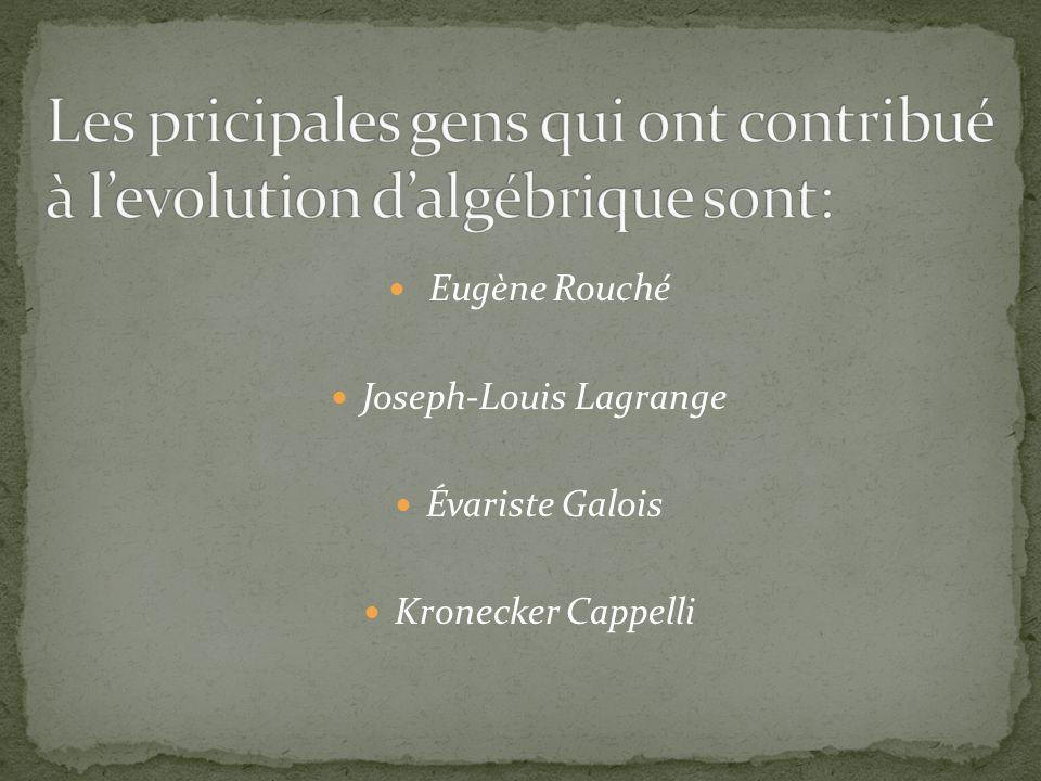 Les pricipales gens qui ont contribué à l'evolution d'algébrique sont: