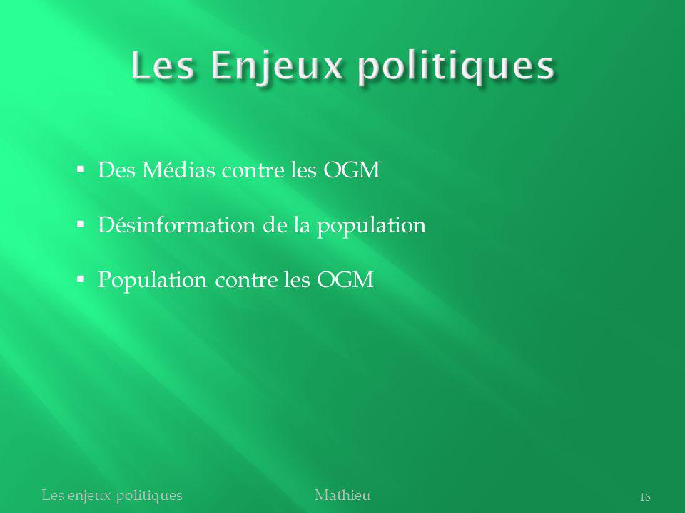 Les Enjeux politiques Des Médias contre les OGM