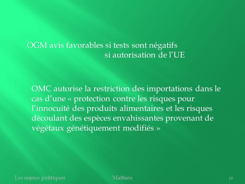OGM avis favorables si tests sont négatifs si autorisation de l'UE