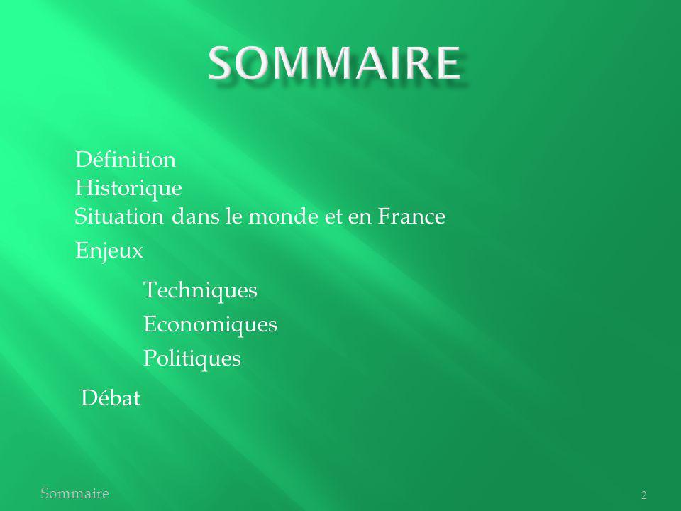 SOmmaire Définition Historique Situation dans le monde et en France