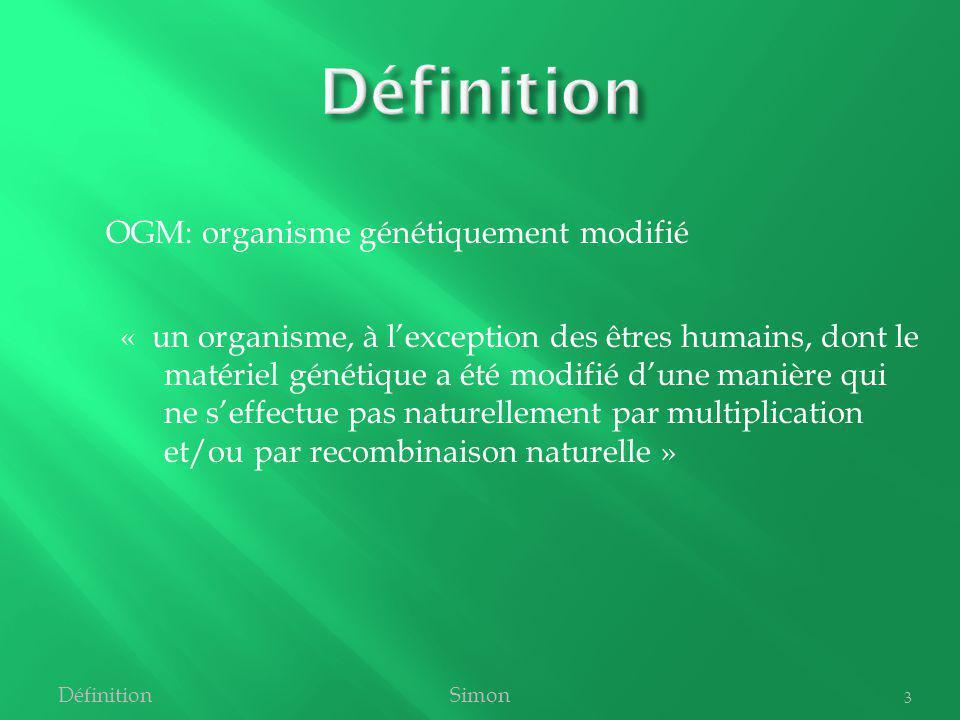 Définition OGM: organisme génétiquement modifié