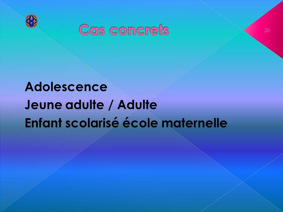 Cas concrets Adolescence Jeune adulte / Adulte