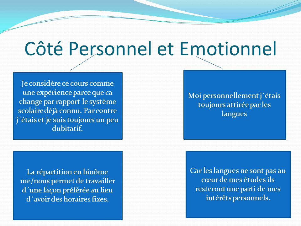 Côté Personnel et Emotionnel
